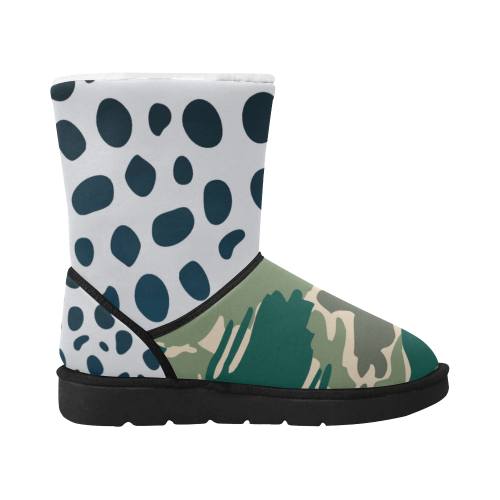 Woodland Camo Green Design boots winter Unisex Single Button Snow Boots (Model 051)