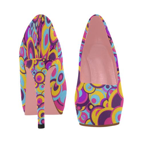 Retro Circles Groovy Violet, Yellow, Blue Colors Women's High Heels (Model 044)