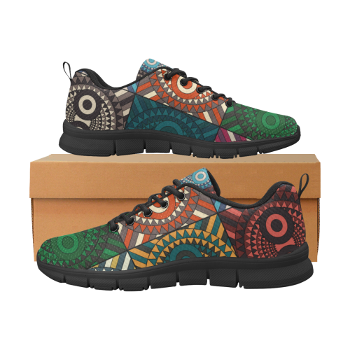 Polychrome Owl Mask Men's Breathable Running Shoes/Large (Model 055)