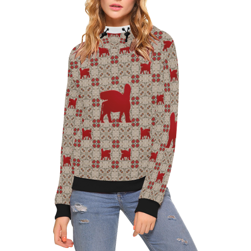 Red Lamassu High Neck Pullover Hoodie for Women (Model H24)