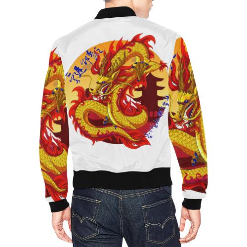 Yellow Honor Strength All Over Print Bomber Jacket for Men (Model H19)