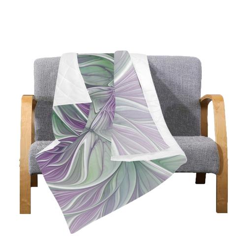 "Flower Dream Abstract Purple Sea Green Floral Fractal Art Quilt 50""x60"""