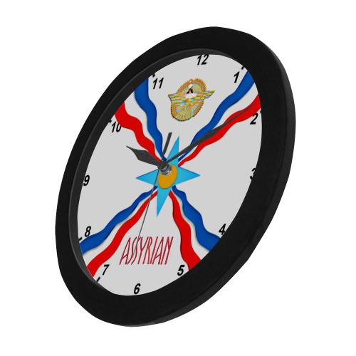 Assyrian Flag Circular Plastic Wall clock
