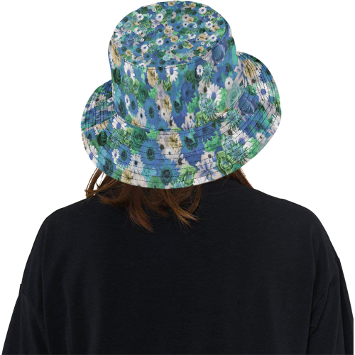 Turquoise Gold Fantasy Garden All Over Print Bucket Hat