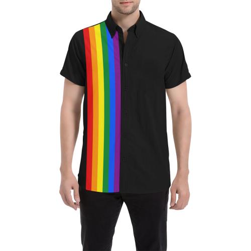 Gay Pride Rainbow Flag Stripes Men's All Over Print Short Sleeve Shirt (Model T53)