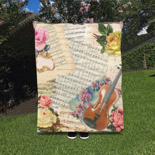 """Music And Roses Quilt 40""""x50"""""""