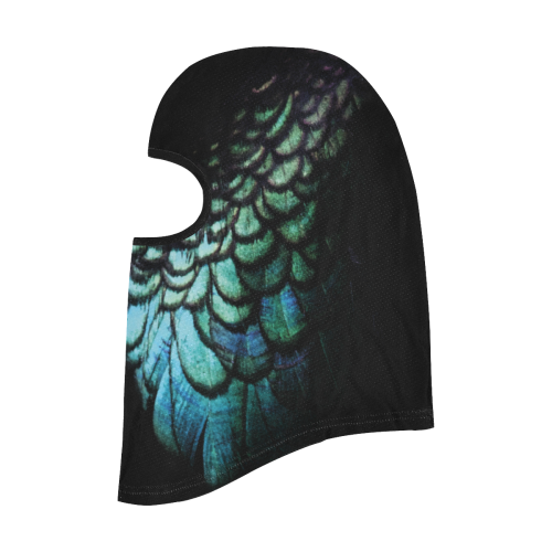 blue feathered peacock animal print design community face mask All Over Print Balaclava
