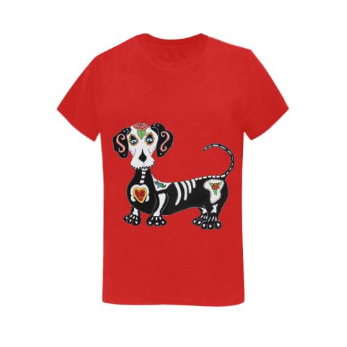 Dachshund Sugar Skull Red Women's Heavy Cotton Short Sleeve T-Shirt