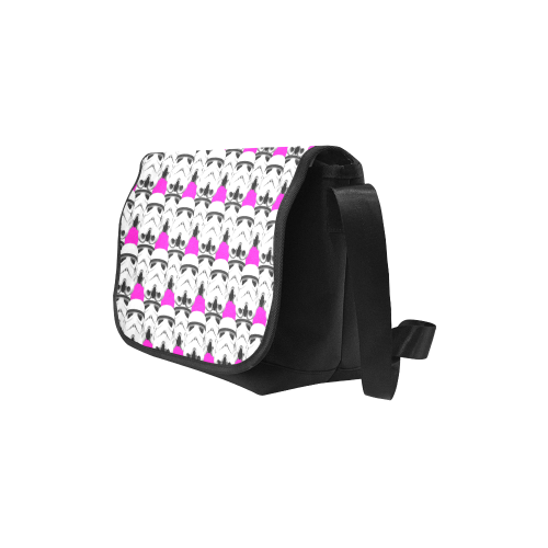 Stormie Helmet Print Flap Messenger Bag with Fuschia Pink Background New Messenger Bag (Model 1667)