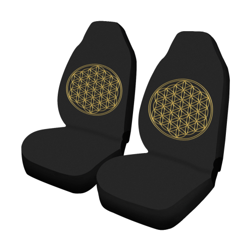 FLOWER OF LIFE gold Car Seat Covers (Set of 2)