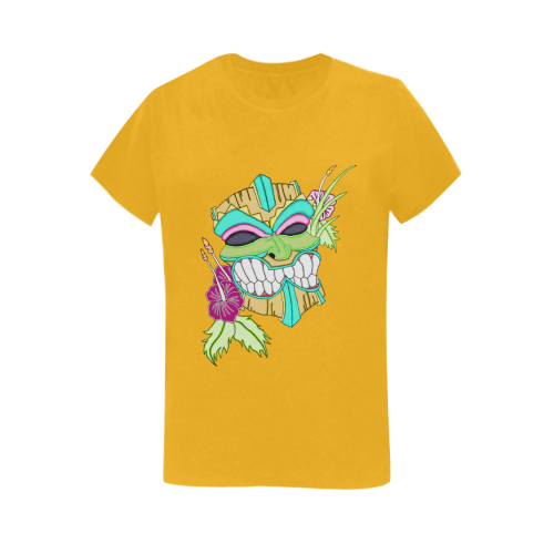 Tropical Tiki Mask Gold Women's Heavy Cotton Short Sleeve T-Shirt