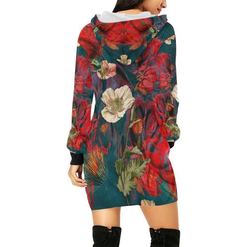 flora 3 All Over Print Hoodie Mini Dress (Model H27)
