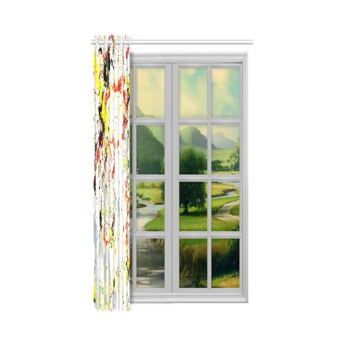 "Black, Red, Yellow Paint Splatter New Window Curtain 52"" x 63""(One Piece)"