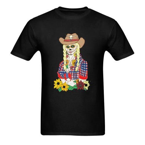Cowgirl Sugar Skull Black Men's Heavy Cotton T-Shirt (Plus-size)