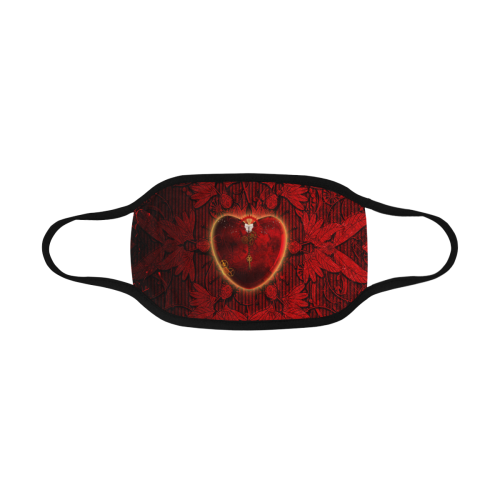 Heart on vintage background Mouth Mask