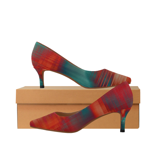 lines Women's Pointed Toe Low Heel Pumps (Model 053)