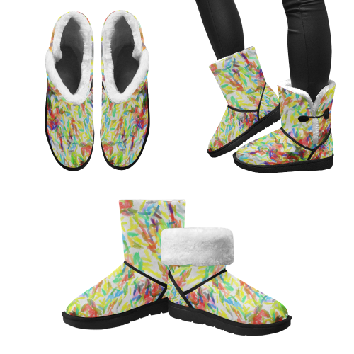 Colorful brush strokes Unisex Single Button Snow Boots (Model 051)
