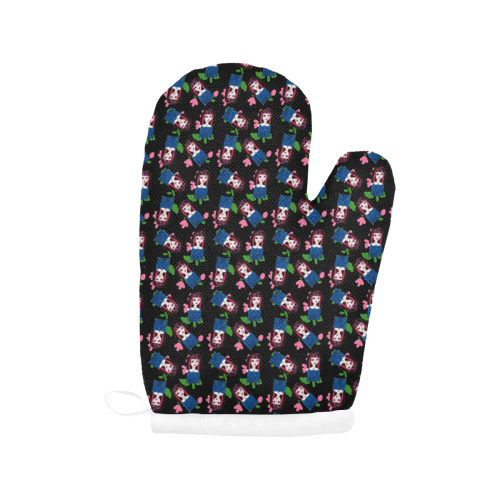 goth girl in blue dress black pattern Oven Mitt (Two Pieces)
