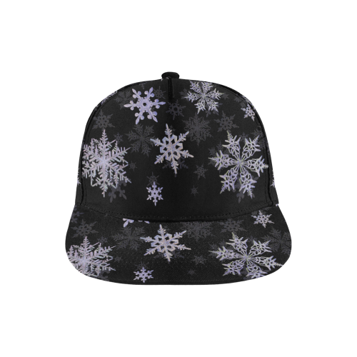 Snowflakes Blue Purple All Over Print Snapback Hat A