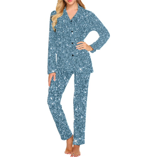 New Sparkling Glitter Print F by JamColors Women's Long Pajama Set (Sets 02)