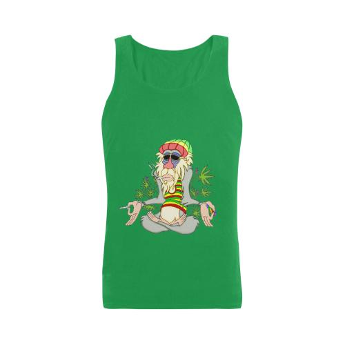 Hippie Ganja Guru Turf Green Men's Heavy Cotton Tank Top