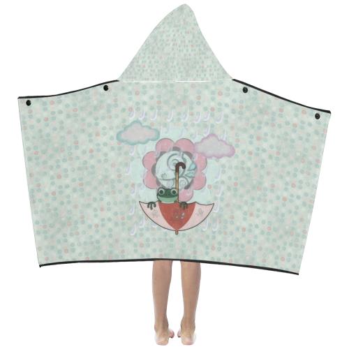 Rainy Day Frog Kids' Hooded Bath Towels