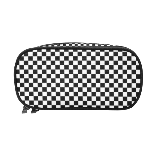 Checkerboard Black And White Pencil Pouch/Large (Model 1680)
