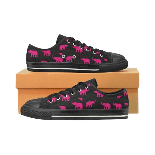 elefantes rosas Low Top Canvas Shoes for Kid (Model 018)
