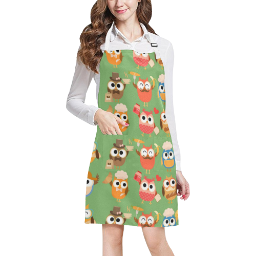 Cooking Owls All Over Print Apron