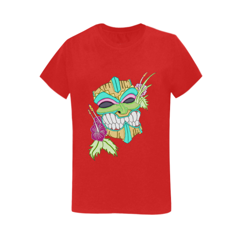 Tropical Tiki Mask Red Women's Heavy Cotton Short Sleeve T-Shirt