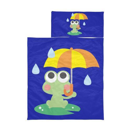 Cute Frog With Umbrella Blue Kids' Sleeping Bag
