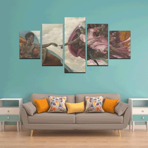 Cashmere Black Women Creation painting Canvas Wall Art Z (5 pieces)