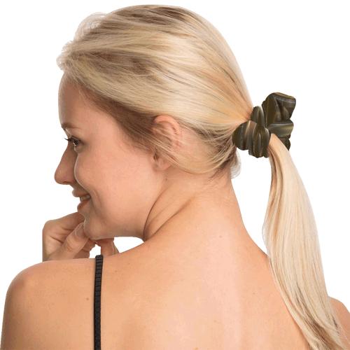 Metallic Gold Circles Stars All Over Print Hair Scrunchie