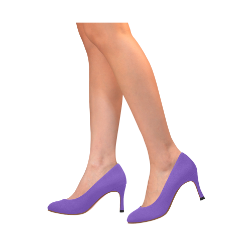 Basic Purple Solid Color with pink lining Women's High Heels (Model 048)