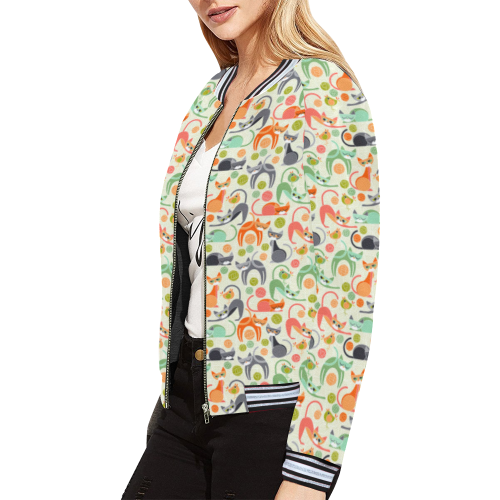 Shape of Cats All Over Print Bomber Jacket for Women (Model H21)