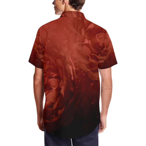 Wonderful red flowers Men's Short Sleeve Shirt with Lapel Collar (Model T54)