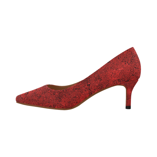 Bright Red Dream Women's Pointed Toe Low Heel Pumps (Model 053)