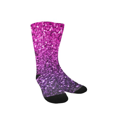 Beautiful Purple Pink Ombre glitter sparkles Custom Socks for Women