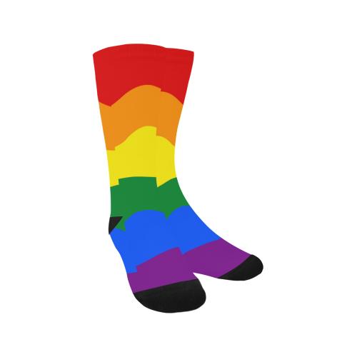 Gay Pride - Rainbow Flag Waves Stripes 2 Trouser Socks (For Men)