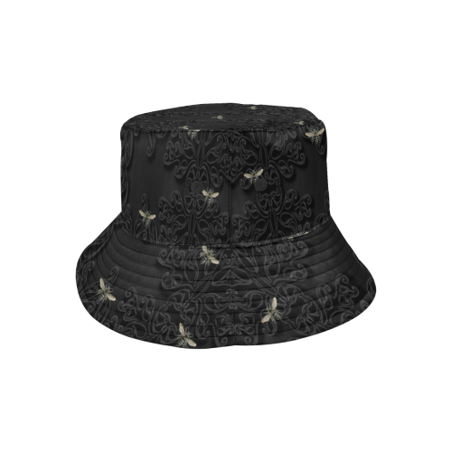 Black Bees and Lace All Over Print Bucket Hat