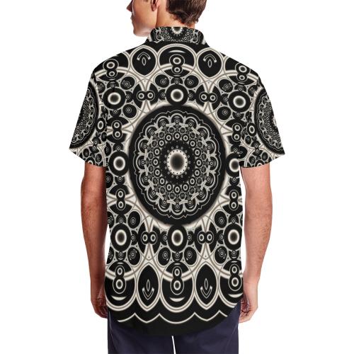 Black Lace Men's Short Sleeve Shirt with Lapel Collar (Model T54)