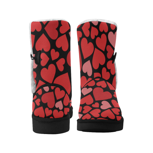 love pattern Design  Red boots on black Unisex Single Button Snow Boots (Model 051)