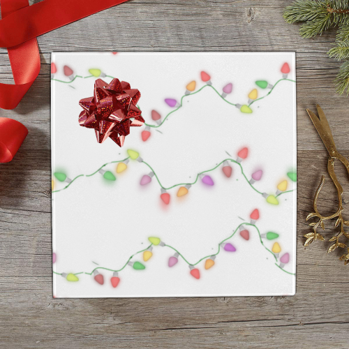 "Festive Christmas Lights on White Gift Wrapping Paper 58""x 23"" (5 Rolls)"