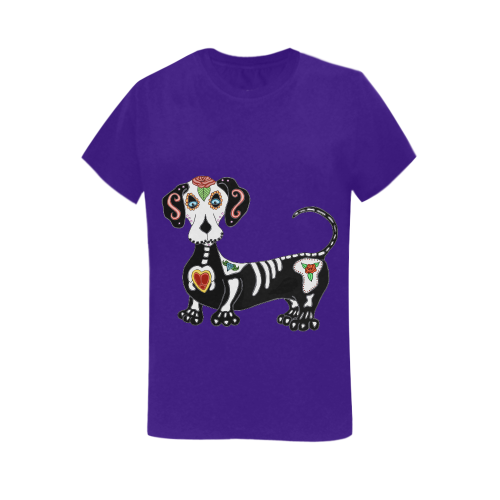 Dachshund Sugar Skull Purple Women's Heavy Cotton Short Sleeve T-Shirt