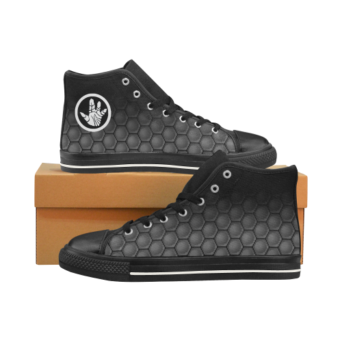 Teratoma Zone Logo - Black Men's Classic High Top Canvas Shoes /Large Size (Model 017)