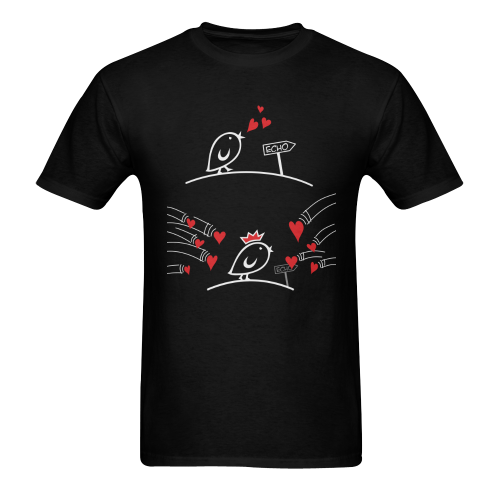 Comic Birds - Tweetlercools - LOVE ECHO 2 Men's T-shirt in USA Size (Two Sides Printing) (Model T02)