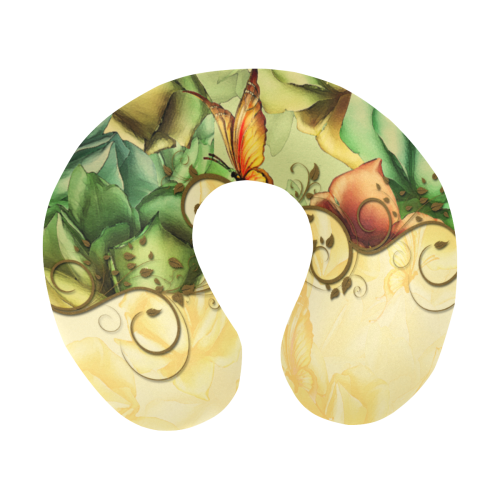 Colorful flowers with butterflies U-Shape Travel Pillow