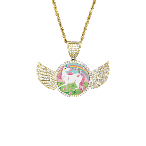 Unicorns are Real Wings Gold Photo Pendant with Rope Chain