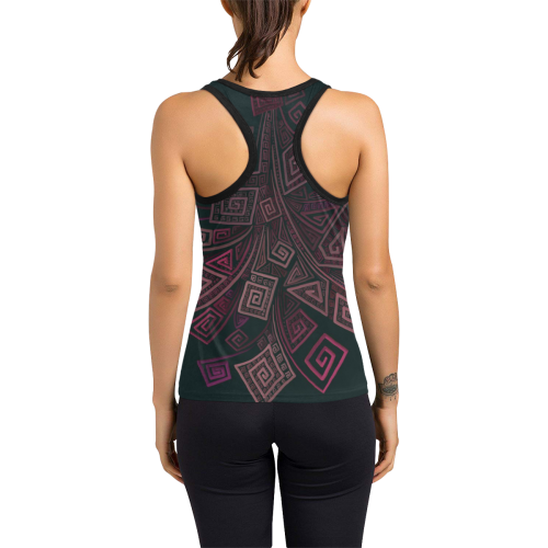 Psychedelic 3D Square Spirals - pink and orange Women's Racerback Tank Top (Model T60)