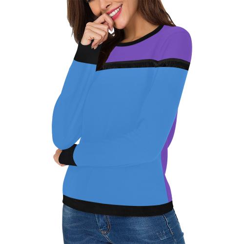 Basic Purple and Blue Women's Fringe Detail Sweatshirt (Model H28)